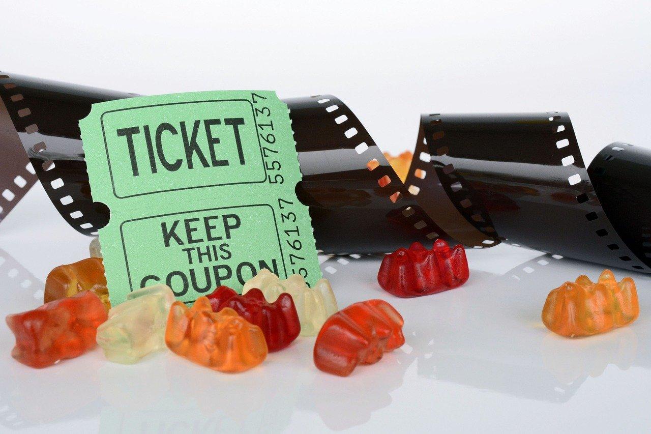 film roll, ticket, gummibärchen